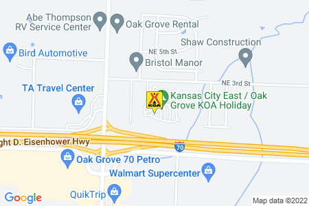 Kansas City East / Oak Grove KOA Map
