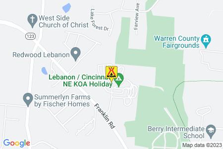 Lebanon / Cincinnati NE KOA Map