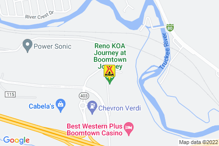 Reno KOA at Boomtown Map