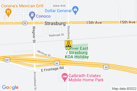 Denver East / Strasburg KOA Map
