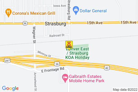 Denver East / Strasburg KOA Holiday Map