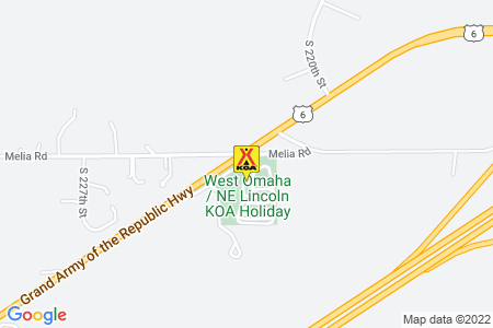 West Omaha / NE Lincoln KOA Map