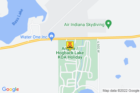 Angola / Hogback Lake KOA Holiday Map