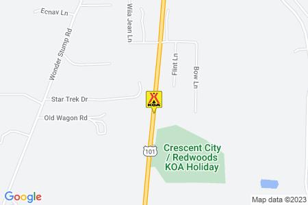 Crescent City / Redwoods KOA Map