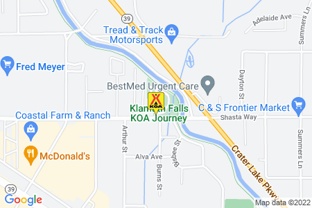 Klamath Falls KOA Journey Map