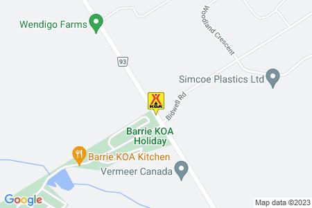 Barrie KOA Map