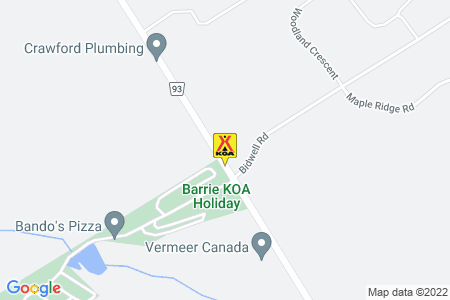 Barrie KOA Map