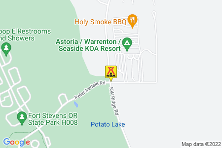 Astoria / Warrenton / Seaside KOA Resort Map