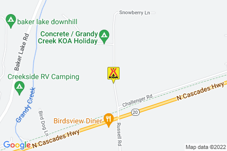 Concrete / Grandy Creek KOA Map