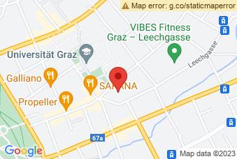 Karte mit Markierung auf ZWI Graz, Schubertstraße 6a, 8010 Graz