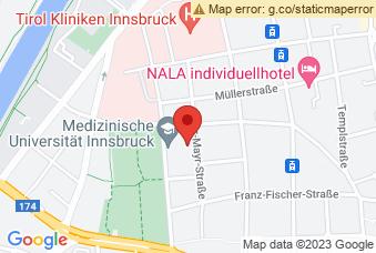 Karte mit Markierung auf Meduni Innsbruck, Fritz-Pregl-Straße 3, 6020 Innsbruck