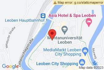 Karte mit Markierung auf Montanuni Leoben, Peter Tunner-Straße 25, 8700 Leoben