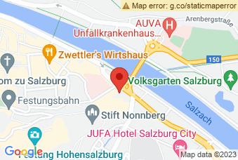 Karte mit Markierung auf Justizgebäude Salzburg, Rudolfsplatz 2, 5020 Salzburg