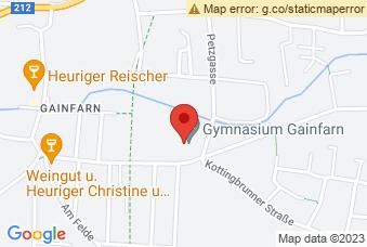 Karte mit Markierung auf BG Gainfarn, Petzgasse 36, 2540 Bad Vöslau