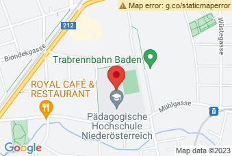 Karte mit Markierung auf PH Baden, Mühlgasse 67, 2500 Baden