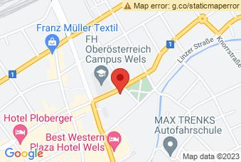 Karte mit Markierung auf BHAK Wels 1+2, Stelzhamerstraße 20, 4600 Wels