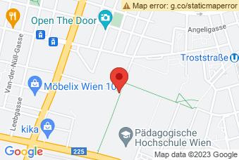 Karte mit Markierung auf PH und BAKIP Wien, Ettenreichgasse 45A, 1100 Wien