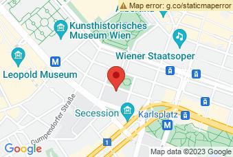 Karte mit Markierung auf Akademie der bildenden Künste, Schillerplatz 3, 1010 Wien