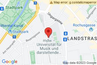 Karte mit Markierung auf Musikuni Wien, Anton-von-Webern-Platz 1, 1030 Wien