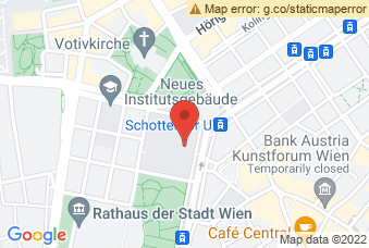 Karte mit Markierung auf Aula und Arkadenhof Uni Wien, Universitätsring 1, 1010 Wien