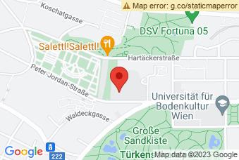 Karte mit Markierung auf BOKU Peter Jordan Straße, Peter-Jordan-Straße 82, 1190 Wien
