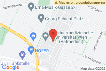 Karte mit Markierung auf Kleintierklinik Veterinärmedizinische Universität, Veterinärpl. 1, 1210 Wien