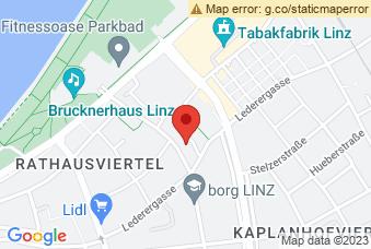 Karte mit Markierung auf Europaschule Linz, Lederergasse 35, 4020 Linz
