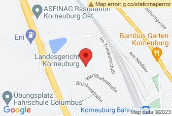 Karte mit Markierung auf Justizzentrum Korneuburg, ,