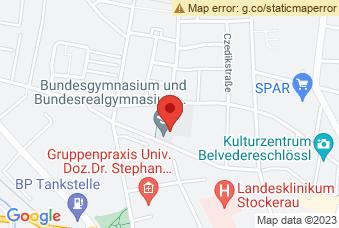 Karte mit Markierung auf BG/BRG Stockerau, Unter Den Linden 16, 2000 Stockerau