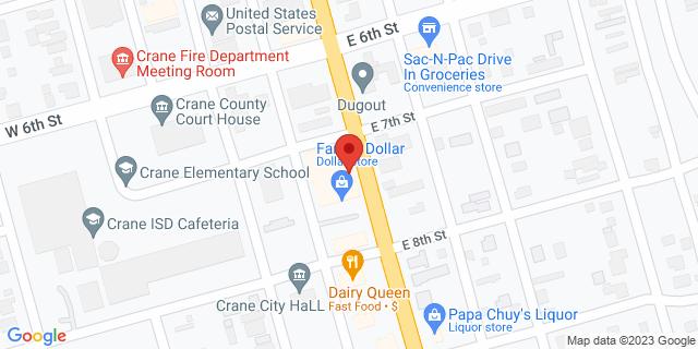 National Bank Crane 720 S Gaston St 79731 on Map