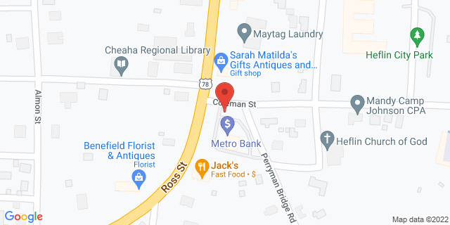 Metro Bank Heflin 1022 Coleman St 36264 on Map