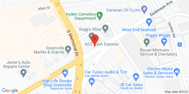 ACE Cash Express Greenville 2208 Dickinson Ave 27834 on Map
