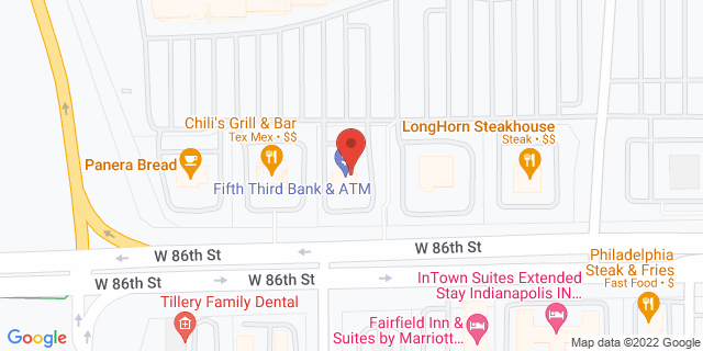 Fifth Third Bank Indianapolis 5930 WEST 86TH STREET 46278 on Map