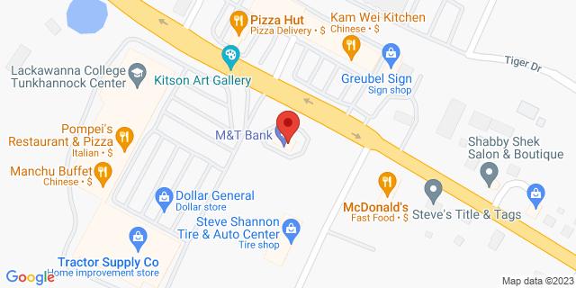 M&T Bank Tunkhannock 411 Tioga West Plz 18657 on Map
