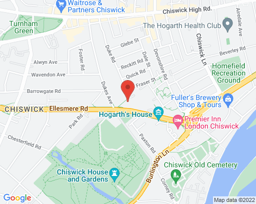 Google Map of fitnessology personal training studio Chiswick W4 2JR
