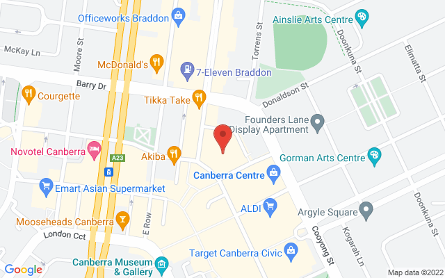 Google Map of Canberra Centre