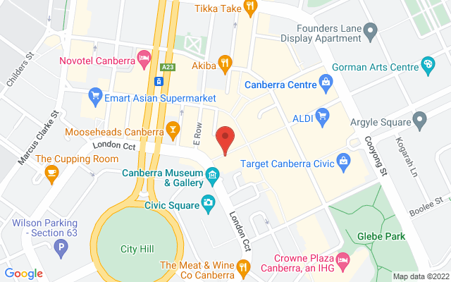 Google Map of Canberra Civic