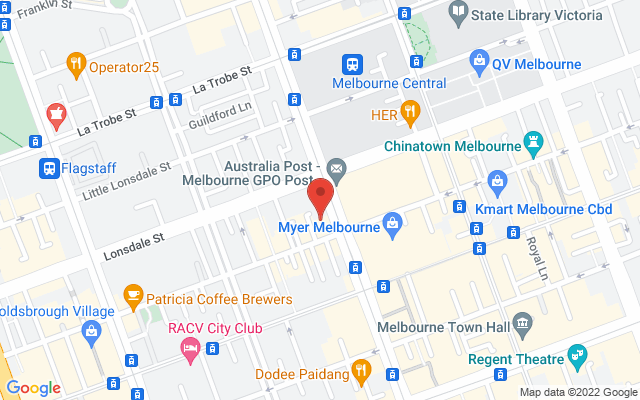 Google Map of Melbourne City
