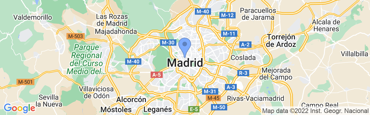 Staticmap?size=1280x200&maptype=roadmap&center=40.4257737%2c 3.704259&markers=size:mid%7ccolor:blue%7c40.4257736206%2c 3