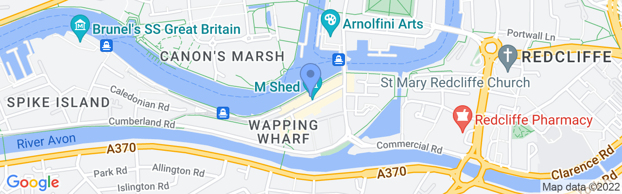 Staticmap?size=1280x200&maptype=roadmap&center=51.4476485%2c 2.598234400000024&markers=size:mid%7ccolor:blue%7c51.4476470947%2c 2