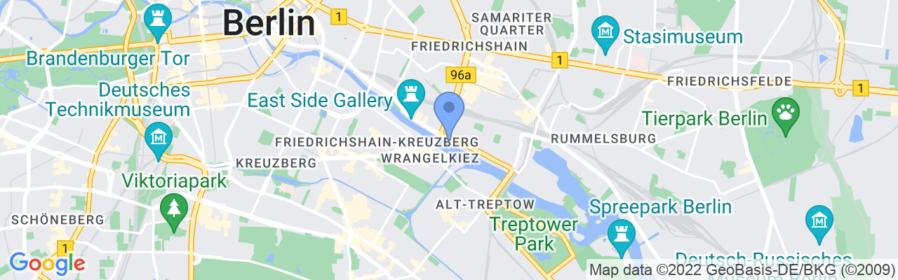 Staticmap?size=1280x200&maptype=roadmap&center=52.50177168674811%2c13.44885214071951&markers=size:mid%7ccolor:blue%7c52.501701355%2c13