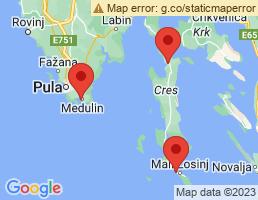 map of fishing charters in Mali Lošinj