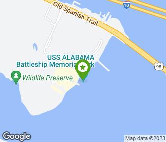 on map of gulf uss alabama