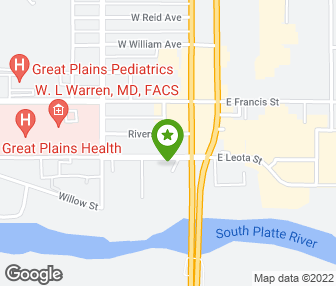 MidNebraska Physical Therapy Sports Center North Platte NE - Nebraska physical map