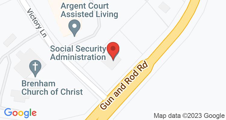 Brenham, TX Social Security Office Map