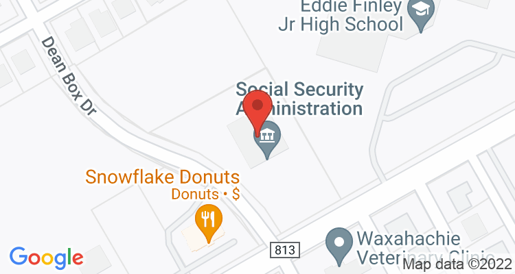 Waxahachie, TX Social Security Office Map