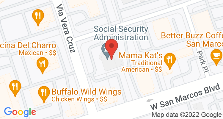 San Marcos, CA Social Security Office Map