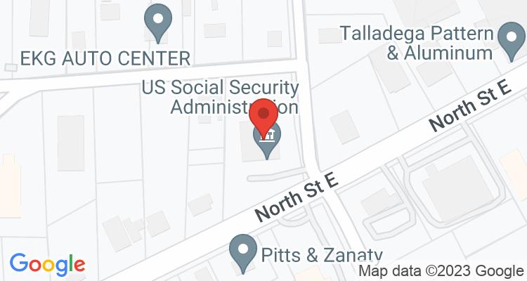 Talladega, AL Social Security Office Map