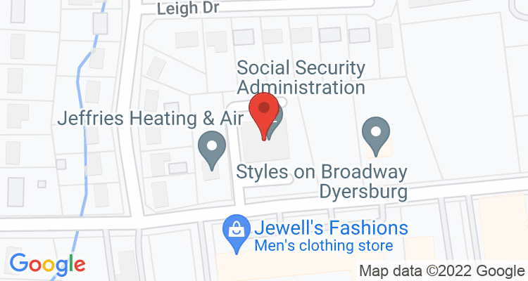 Dyersburg, TN Social Security Office Map