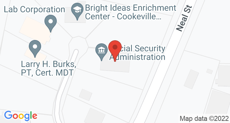 Cookeville, TN Social Security Office Map